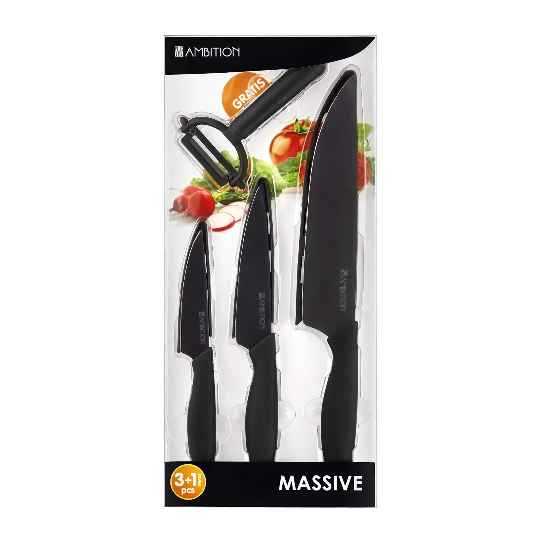 Komplet 3 noży ceramicznych + obierak gratis MASSIVE