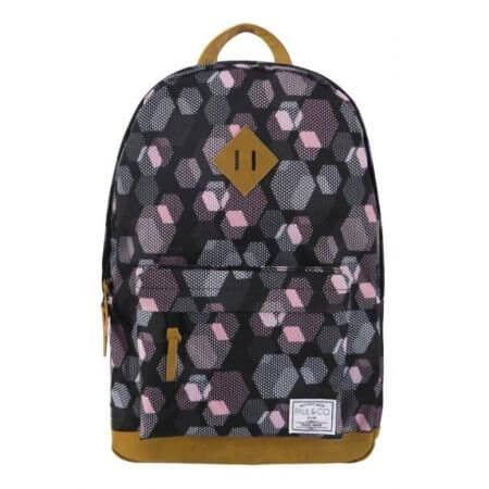 Plecak 27l Czarny z ementami gometrycznymi w kolorze pudrowego różu