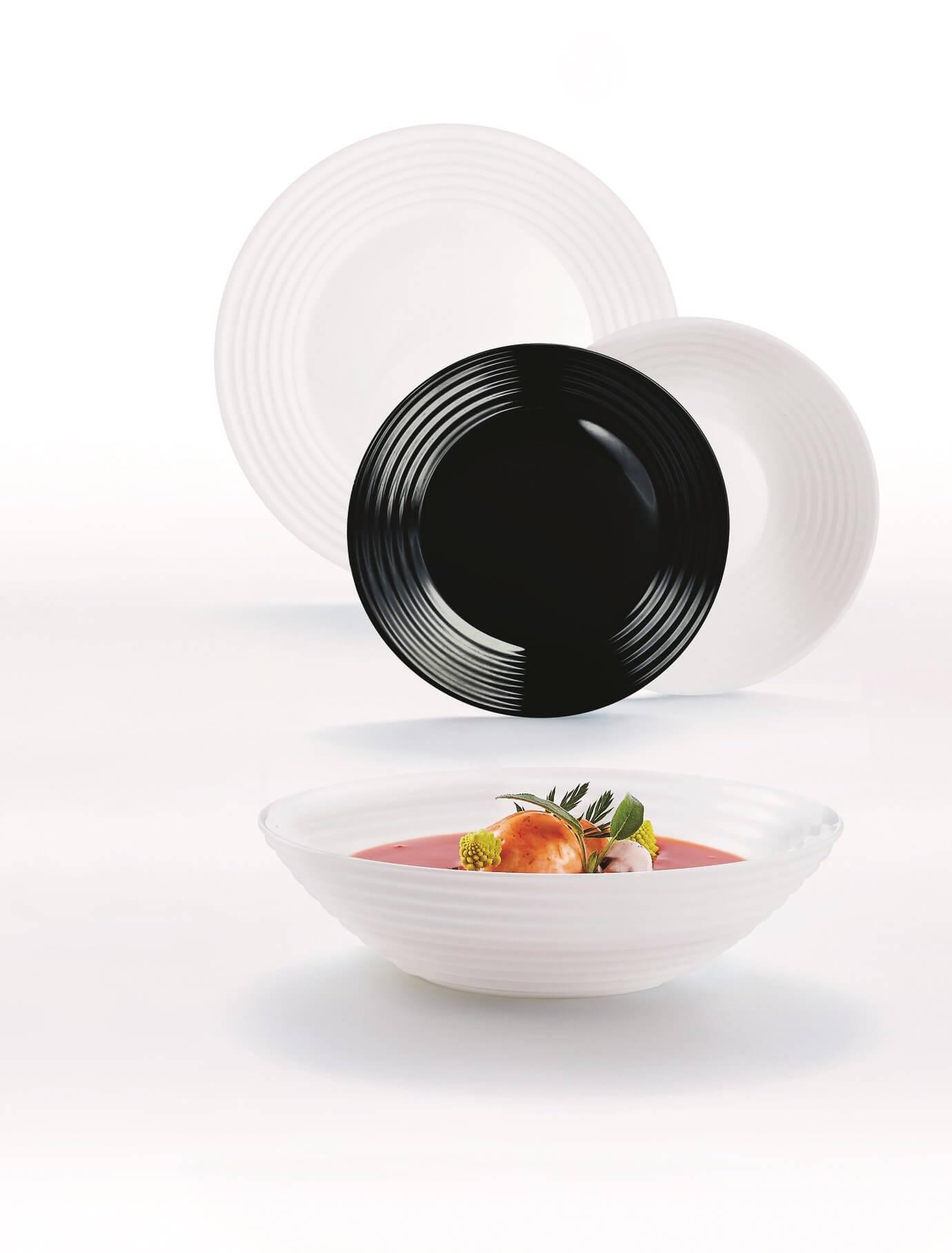 Komplet obiadowy 18 elementowy biało-czarny HARENA