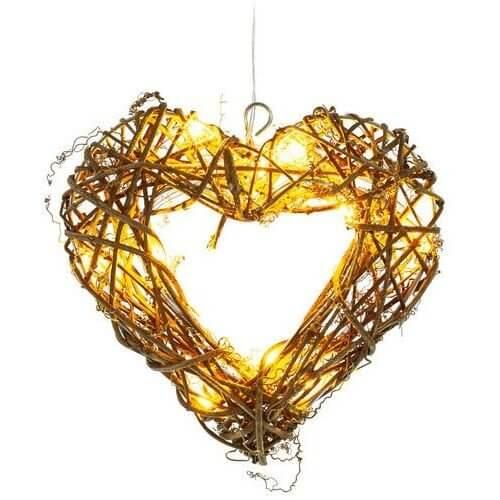 Ozdoba świetlna Serce rattanowe Retlux RXL 256 10LED