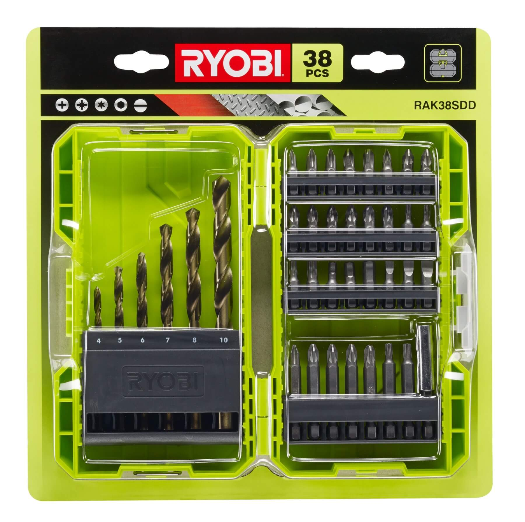 Zestaw wierteł i bitów 38 sztuk Ryobi RAK38SDD