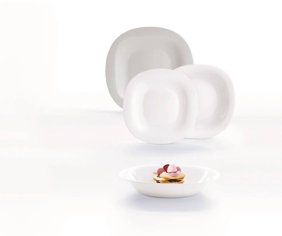 Komplet obiadowy 18 elementowy biało-szary CARINE
