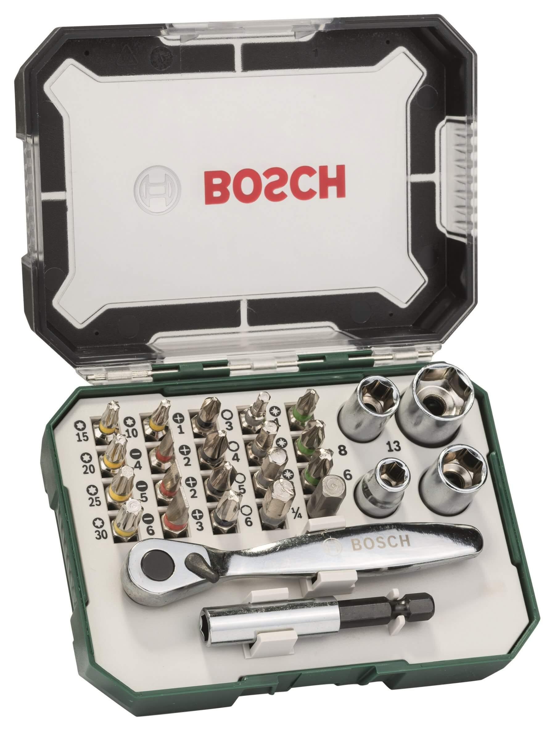 Osprzęt do wiertarek / wkrętarek 26-częściowy zestaw końcówek wkręcających i zestaw grzechotek Bosch