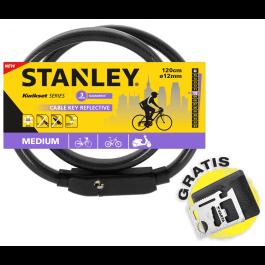 Odblaskowa linka rowerowa zamykana na klucz 120 cm Ø12 mm(S741-161) Stanley